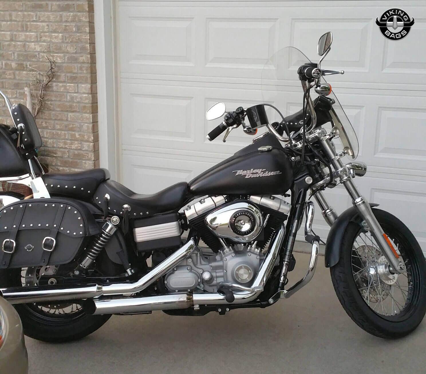 harley davidson dyna motorcycle saddlebags viking bags