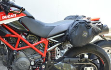 Katie's Ducati Hypermotard w/ Viking Dirtman Enduro Saddlebags