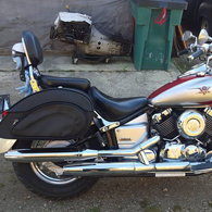 Susan Mushinski's 2005 Yamaha V Star Classic 650 w/ Overlord Series Motorcycle Saddlebags