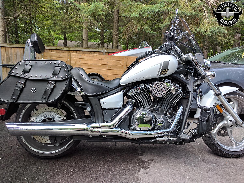 Yamaha stryker viking odin studded large leather for Yamaha raider hard saddlebags
