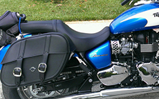 Elle Civitello's Triumph America w/ Charger Slanted Motorcycle Saddlebags