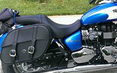Elle Civitello's Triumph America w/ Charger Slanted Motorcycle Saddlebags