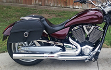 Lorie Kutnock's 2008 Victory w/ Charger Single Strap Motorcycle Saddlebags