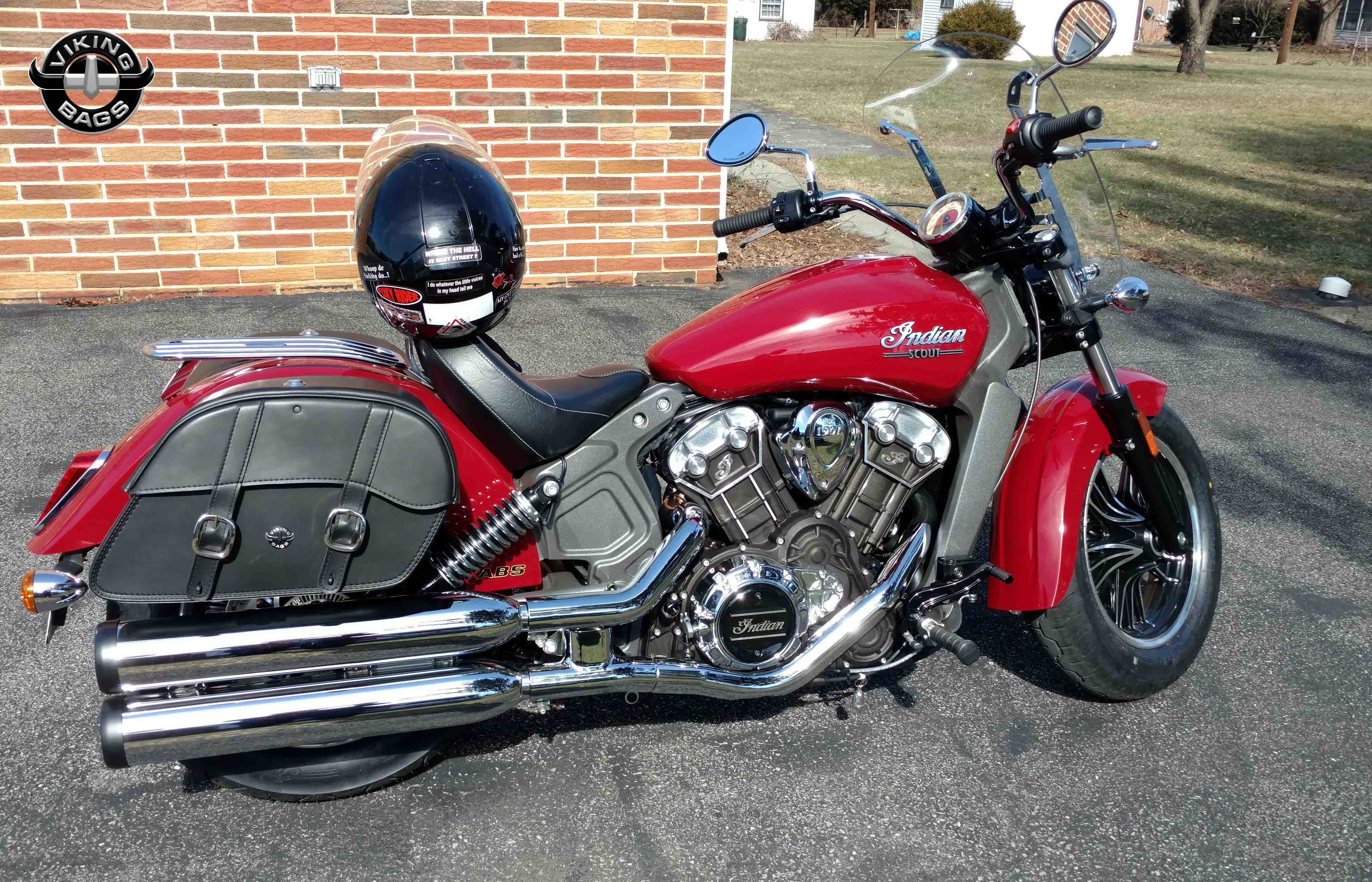 Indian Scout w/ Charger Slanted Motorcycle Saddlebags