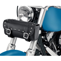 Studded Motorcycle Fork Bag on Bike View