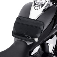 Medium Motorcycle Tank Map Pouches with Magnetic Bottom Ear bud Panel  in front of Bike View