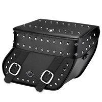 Victory Judge Concord Hard Leather Studded Motorcycle Saddlebags Main Image