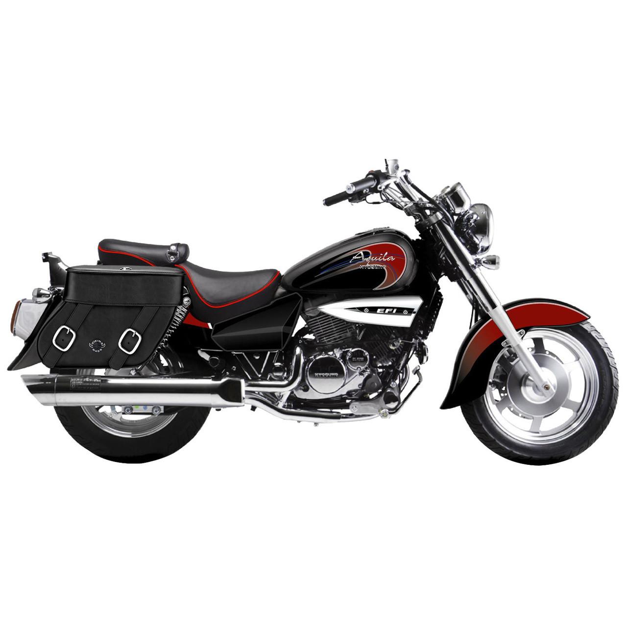Hyosung Gv 250 Aquila Motorcycle Saddlebags Concord Leather Plain