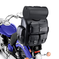 Indian Viking Classic Leather Motorcycle Sissy Bar Bag On Bike View