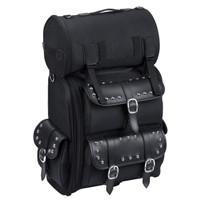 Suzuki Viking Large Studded Leather Motorcylce Sissy Bar Bag Front View