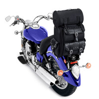 Victory Viking Large Studded Leather Motorcylce Sissy Bar Bag On Bike View