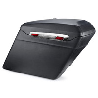 Harley Road King Touring Bagger Silver Hinge Leather Covered Stretched Saddlebags Main View