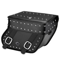 Viking Concord Hard Leather Studded Motorcycle Saddlebags For Harley Softail Street Bob