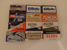 70 Double edge DE razor blades sample selection Gillette Polsilver BIC Sputnik.