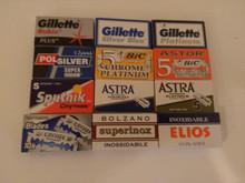 70 Double edge DE razor blades sample selection Gillette Polsilver BIC Sputnik.