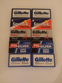 50 Double edge DE razor blades Gillette Polsilver Sputnik THE SHARP SELECTION.