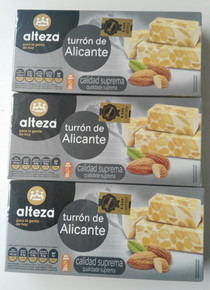 Alteza Turrón de Alicante 3 bars Spanish Almond delicacy 250g