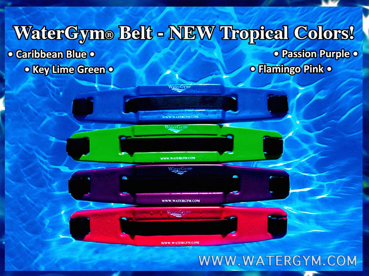 WaterGym Water Aerobics Flotation Belt in Blue Green Pink and Purple Tropical Colors!
