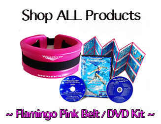 pink water float belt with watergym water aerobics workout dvd