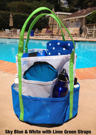 Mesh Tote - Sky Blue & White with Lime Green Straps