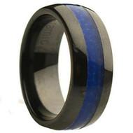 Beautiful Ceramic Ring With Blue Carbon Fiber Inlay