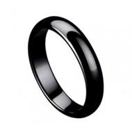 """Black Ceramic """"Domed Ring"""" High Polished"""