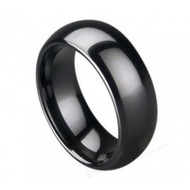 "Black Ceramic High Polished Domed With ""Brushed Center Ring"""