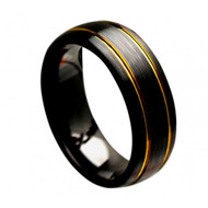 """Black Ceramic Brushed Domed With """"2 Yellow Gold Plated Grooves"""""""