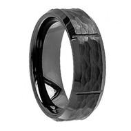 Black Ceramic Hammered Center Vertical Grooves