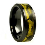 Black Ceramic Beveled Edge Army Green Camouflage Inlay