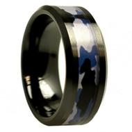 Black Ceramic Beveled Edge Purple Gray Camouflage Inlay