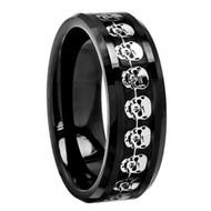 Black Carbon Fiber & Cut-Out Skull Symbol Inlay Beveled Edge