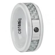 Ceramic Ring .05ct Diamond center stone Grey Carbon Fiber Inlay
