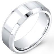 Cobalt Chrome Wedding Band Ring Shiny Polished center