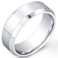 Cobalt Chrome Wedding Band Ring Matte Brushed center