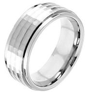 Cobalt Chrome Wedding Band Ring  flat Hammered center