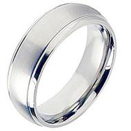 Cobalt Chrome Wedding Band Ring Brsuhed Center finished