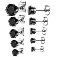316L Stainless Steel Round Black Cubic Zirconia Stud Earrings EAR-
