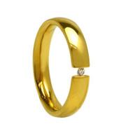 Titanium Gold Wedding Band Ring with Round Cut Cubic Zirconia