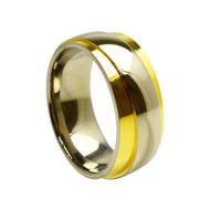 Titanium Gold Wedding Band Ring Clean Design