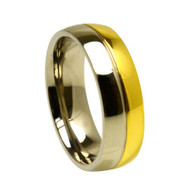 Titanium Gold Wedding Band Ring with Two-tone Grooved