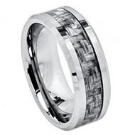 High Polish Titanium Ring with Charcoal Gray Carbon Fiber Inlay