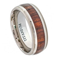 Titatnium Ring Domed with Hawaiian Koa Rosewood Inlay