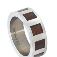 Titatnium Ring Flat with Square Hawaiian Koa Rosewood Inlay