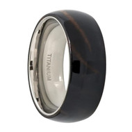 Titanium Ring High Polished Domed with Dark Wooden Inlay Center