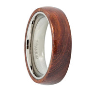 Titanium Ring High Polished Pipe Cut w/Red Wooden Inlay Center