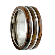 Titanium Ring High Polished 3 Layer Dark Wooden Inlay Center