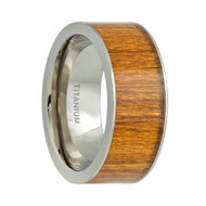 Titanium Ring High Polished Orange Wooden Inlay Center
