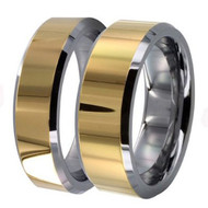 His & Hers Polished Tungsten Ring Set