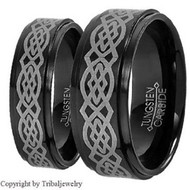 His & hers Celtic Tungsten Set